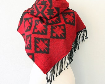 Blanket scarf Dark red black Autumn fall wrap Winter shawl Large fringe scarf Native scarf tribal ethnic scarves Boho Geometric scarf