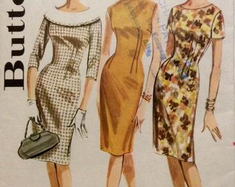 Vintage Sewing Pattern 1960s Mad Men Wiggle Dress Princess Sheath Wide Collar Neckline Variations Miss Size 12