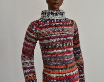 Fire, hand-knitted sweater for Dollshe boys, 70cm