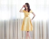 60s Silk Satin Dress - Vintage 1960s Party Dress -
