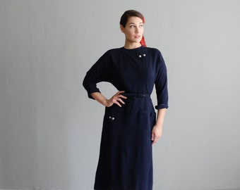 Vintage 1950s Dress - Rayon 50s Dress - Deeply Desired Dress