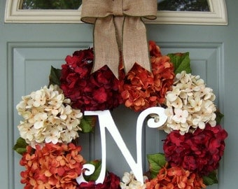 Fall Wreath - Wreath for Fall - Monogram Fall Berry Wreath