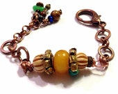 "Nepalese Copal Resin (Young Amber) and Carved Bone Bracelet, Sz. 7.5"", Handmade Etsy, Christmas, Kwanzaa, Birthday, OOAK, Copper Chain"