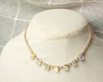 Vintage AB Crystal Necklace Vintage Rhinestone Necklace Emerald Cut Choker AB Rhinestone Choker Vintage Crystal Necklace