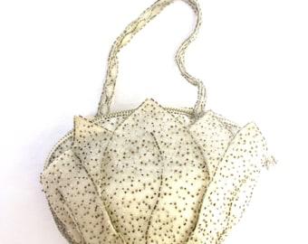 Vintage Purse Vintage Bag Wedding Purse Wedding Bag Flower Leaves Petals Beaded Off White Bag Small Purse