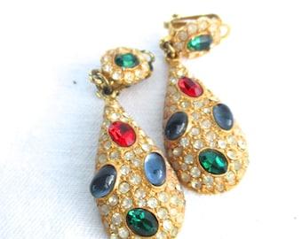 Vintage Earrings Ear Clips Teardrop Earrings Clip ons Clip on Earrings Rhinestone Earrings Long Earrings Dangle Earrings 1980 80s Earrings