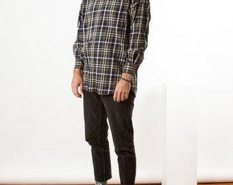 Flannel Navy Shirt / Plaid Dress Button Up / Oversized Lumberjack Shirt