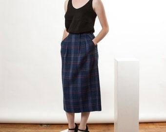 Blue Plaid Wool Skirt / Midi High Waisted Skirt / Fall Pencil Skirt