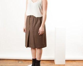Wool Brown Pleated Skirt / Retro Wool High Waisted Skirt / Retro Classic Skirt