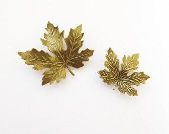Brown Leaf Barrettes Bridal Hair Clips Bride Bridesmaid Maple Leaves Autumn Fall Rustic Woodland Wedding Accessories Womens Gift For Her