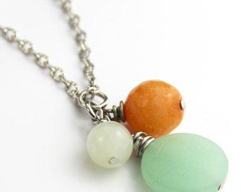 Seafoam Pendant Necklace - Matte Mint Sea Glass Faceted Coral Peach Orange Jade Stone Pendant Cluster Silver Short Necklace