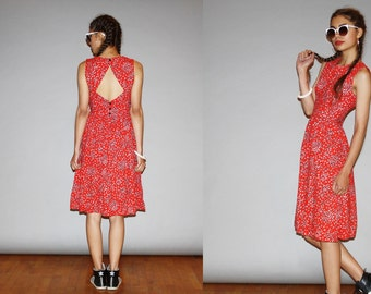 1980s Red Graphic Lanz Backless Summer Cotton Day  Dress   - 80s Sundress Dress - WD0890
