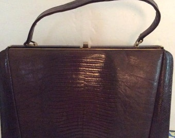Vintage 1950s Handbag Purse Genuine Leather Reptile Embossed Escort Bag Label