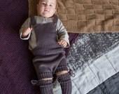 KNIT BABY SOCKS taupe socks with Pom Poms Baby shower gift Baptism accessory Legwear long ribbed socks