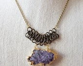 Amethyst Stalactite Chainmail Mixed Metal Necklace/ Gold Brass Chain Necklace Natural Gemstone Amethyst Gold Layering Necklace/ (NMG12)