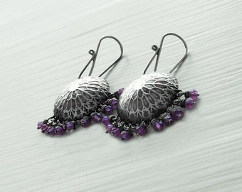 Amethyst and Sterling Silver Etched Rose Window Earrings