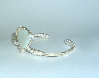 Wire Wrapped Natural  16 ct. Lightning Ridge Opal  Cuff Bracelet Sterling Silver .925 Adjustable