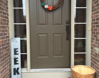 EEK // Halloween // porch sign // rustic