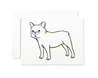 French Bulldog Standing Letterpress Card