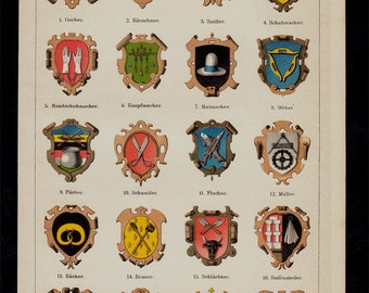 Antique print, 1893 HERALDRY lithograph, guild crest, coat of arms of a medieval association of craftsmen or merchants