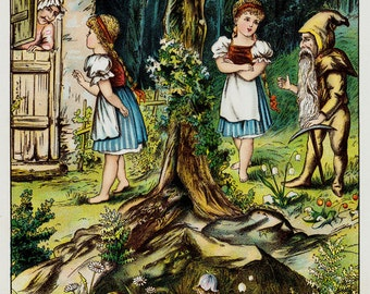 1892 FAIRY TALES Antique print,  original antique chromolithograph, gnome and fairy in the forest,  Fantasy