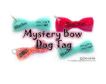 Super SALE Mystery Bow Pet ID Tag - Bow Tie Dog Collar Accessory - Surprise Design Bling Pet ID - Colorful Glitter Glow in the Dark - Cheap