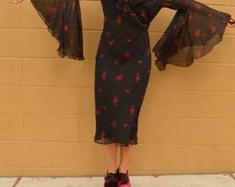 Vintage Express Black and Red SILK FLOWER Dress with Big Bell Sleeves Medium Large
