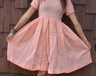Vintage GINGHAM BABYDOLL DRESS Orange and White with Full Skirt Small