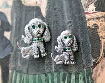 vintage 1960s enamel dog brooch - MOMMY & BABY gerry's white dog pins -set of 2-