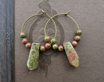 Green Unakite Hoop Earrings, wire hoops with brick pink and moss green unakite spikes, Bohemian or hippie beaded jewelry