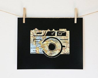 San Francisco Bay Area Vintage Camera Artwork // Focus 11x14 Poster //  Printed from an Original Papercut
