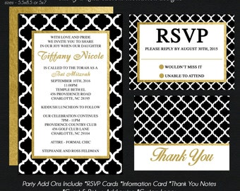 Bat Mitzvah Invitations, Gold Foil and Black Quatrefoil PATTERN, Rsvp Reply Card, Information Card, Thank You Notes USE for ANY Event