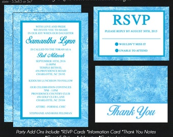 Blue Ice Winter Wonderland Bat Mitzvah Invitation - Save the Date - RSVP Card - Thank You Note - Information Card - Envelope Addressing