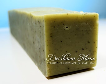 SOAP - 3 lb. Spearmint Eucalyptus Handmade Soap Loaf, Wholesale Soap Loaves, Vegan Soap, Cold Processed Soap, Natural Soap