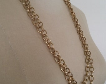 70s GOLDEN SUPER LONG Chain Necklace—Can be Worn Doubled or Tripled—Heavy, Weighty Quality—Nice Detail on the Oval Links
