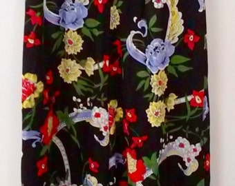70s NIGHT-BLOOMING JUMPSUIT--Super Wide Legs--Noir Botanical--Sailor Collar--Sleeveless--Front Zip--Size 8