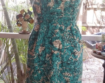 50s DON LOPER--Batik Cotton Wiggle Dress--Aqua, Black, and White--Size 8
