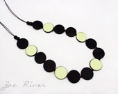 Long necklace, pale green gold black, wood and Japanese paper