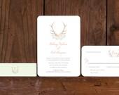 Boho Rustic Antler Wedding Invitation, Antler and Flowers wedding invitation,Invitation Sets, Boho Chic Antler Monogram Wedding Invites