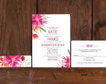 View Floral Wedding Invites by Bdesignspaper on Etsy