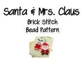 Santa & Mrs. Claus Beading Patterns, Brick Stitch Bead Weaving   DIGITAL DOWNLOAD