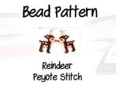 Reindeer Christmas Design Pattern, Peyote Stitch Beading | PDF Download