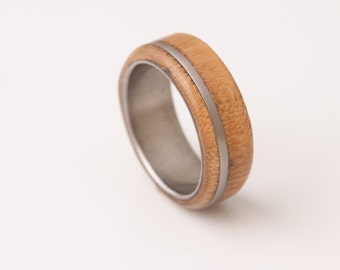 Mens Wood Ring WIth Titanium Ring Mens Wedding Band Silver Ring cherry ring