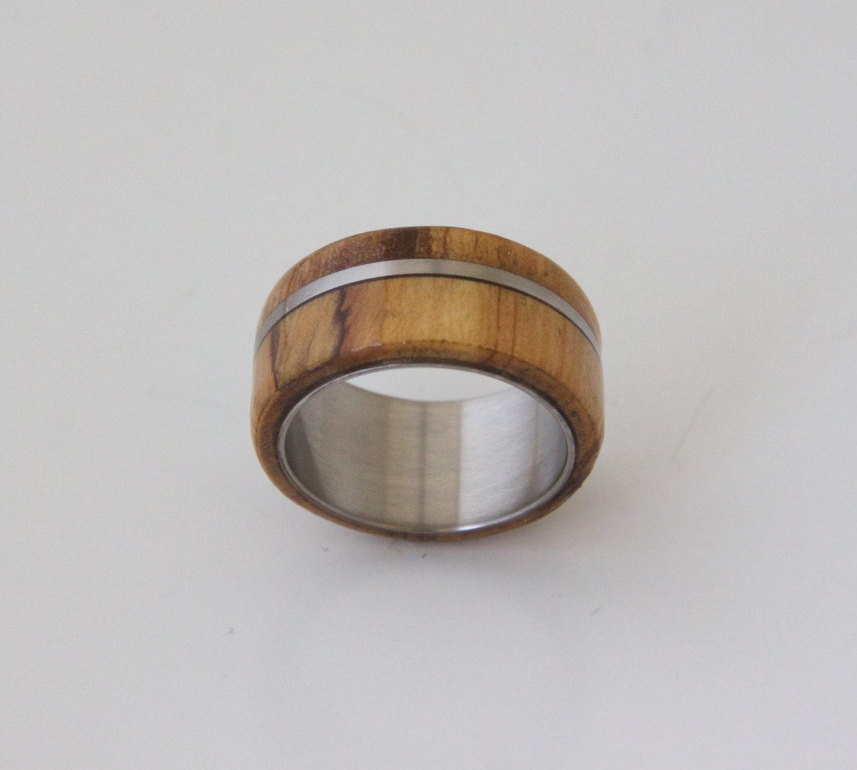 olive titanium mens wood ring with titanium ring mens. Black Bedroom Furniture Sets. Home Design Ideas