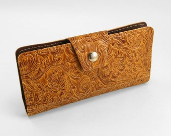 Western Womens Wallet- Handmade With Zipper Pouch Holds Cards, Checkbook and More