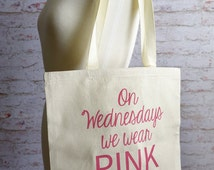 Mean girls tote bag, On wednesdays we wear pink, Movie quote tote bag, Pink tote bag