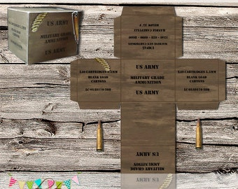 Army Machine Gun Ammo Treat Box - Army Birthday Party, Laser Tag, Paintball, Skirmish - Printable - DIY - Digital File - INSTANT DOWNLOAD
