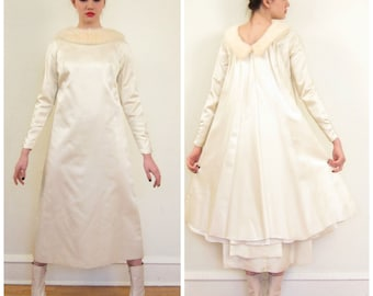 Vintage 1960s Satin and Fur Minimalist Wedding Dress / 60s White and Ivory Long Sleeved Bridgal Gown / Small