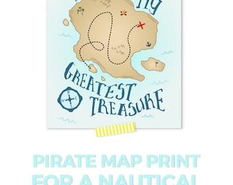 Nautical Nursery Decor, Pirate Nursery, Treasure Map Print, Baby Boy Nursery Decor, Kids Wall Art, You Are Our Greatest Treasure Print