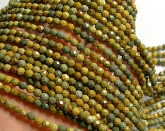 Wild horse Picture Jasper - 4 mm faceted round beads - full strand - 97 beads - AA quality - RFG1059
